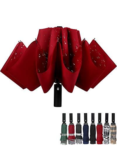 Winddichter Reise-Regenschirm, kompakt, umgekehrt, automatisches Öffnen und Schließen, faltbar, für Herren und Damen, 10 Rippen, Rot