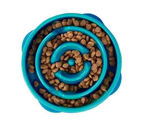 Kyjen 51006 Outward Hound Fun Feeder Slow Feed Interaktiver Bloat-Stop-Futternapf für Hunde, Größe S, blau