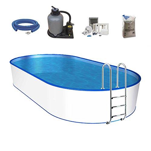 POWERHAUS24 Oval-Pool, Größe & Tiefe wählbar, Stahlwand, Folie 0,6mm Einhängebiese, Edelstahlleiter, Sandfilteranlage, Filtersand, Skimmer, Schlauchset 700 x 350 x 120cm