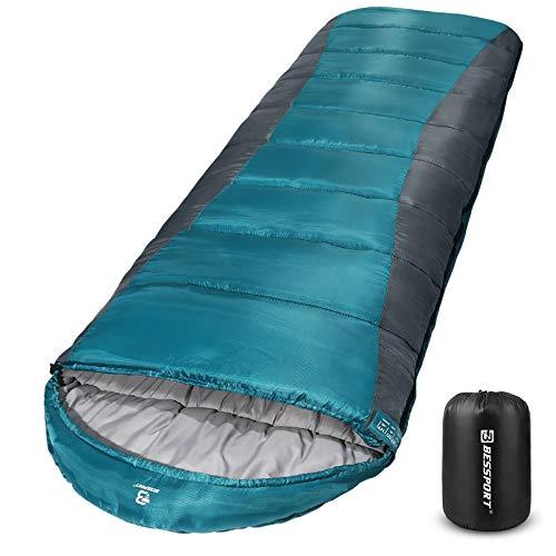 Bessport Schlafsack Winter 3-4 Jahreszeiten   Wasserdichter Leicht Deckenschlafsack in -10 ℃ bis 18 ℃   für Erwachsene, Camping und Outdoor   100% Sprüh Gebundene Baumwolle Füllung