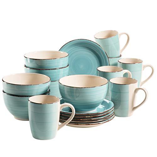 MÄSER 931496 Bel Tempo II Frühstück-Service für 6 Personen im Vintage Look, handbemalte Keramik, 18-teiliges Geschirr-Set, Türkis, Steingut