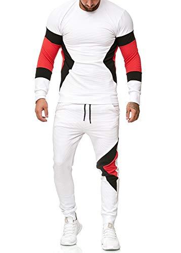 OneRedox | Herren Trainingsanzug | Jogginganzug | Sportanzug | Jogging Anzug | Hoodie-Sporthose | Jogging-Anzug | Trainings-Anzug | Jogging-Hose | Modell 1215 Weiss M