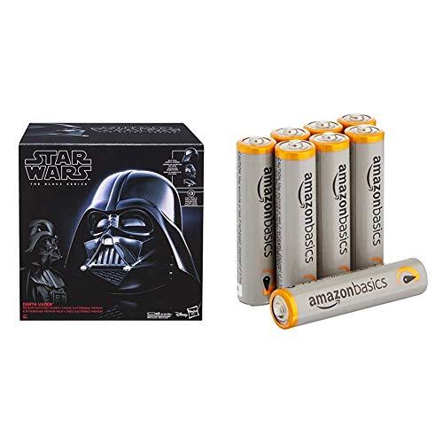 Hasbro E0328EU4 - Star Wars The Black Series Replica Darth Vader Helm & Amazon Basics Performance Batterien Alkali, AAA, 8 Stück (Design kann von Darstellung abweichen)