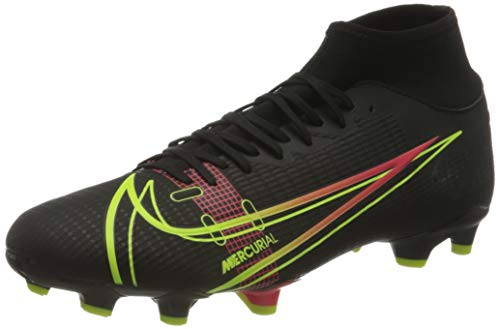Nike Herren Mercurial Superfly 8 Academy FG/MG Football Shoe, Black/Cyber-Off Noir-Rage Green-Siren Red, 47 EU