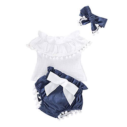 0-24 Monate Neugeborene Baby Mädchen Ärmellos Quasten Tops + Shorts + Stirnband Baumwolle Set Outfit 3tlg Babykleidung Neugeborenen Mädchen Sommerkleidung Kinderkleidung