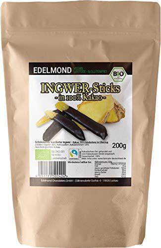 Edelmond Bio kandierter Ingwer. In 100%-Schokolade ohne Zucker-Zusatz. 200g