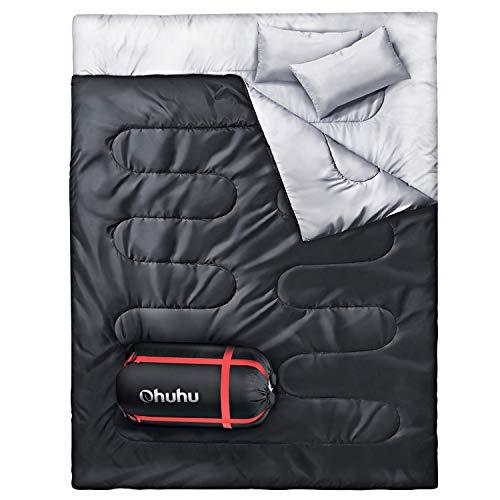 Doppelschlafsack, Ohuhu Schlafsack 220 x 150cm Erwachsene Deckenschlafsack mit 2 Gratis Kissen und eine Tragetasche, Vier Doppel Zippern, Angenehme Temperatur für Outdoor, Camping, Schwarz
