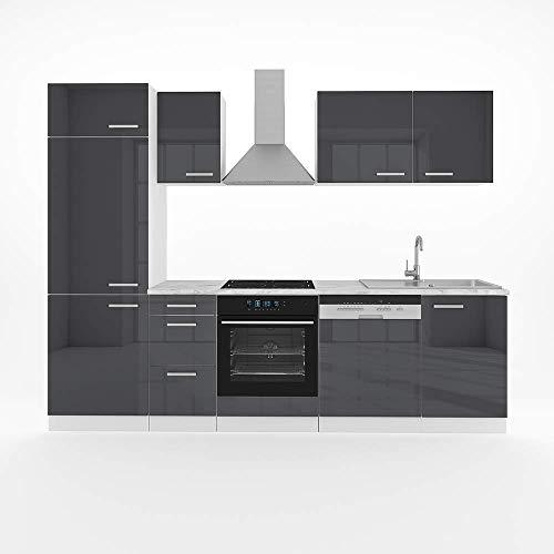 Vicco Küche Optima 270 cm Küchenzeile Küchenblock Einbauküche Komplettküche – Frei Kombinierbar