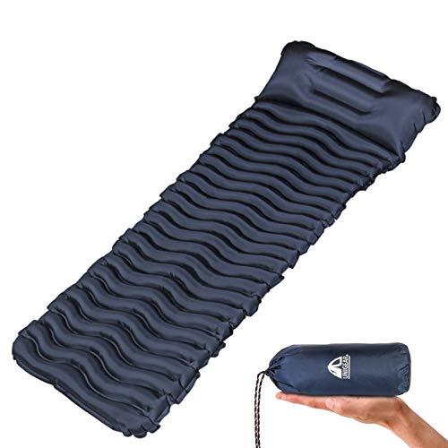 Unigear Camping Isomatte, Aufblasbare Luftmatratze Camping, Schlafmatte für Outdoor, Feuchtigkeitsbeständig Wasserdicht und rutschfest, MEHRWEG (Dunkelblau mit Kissen)