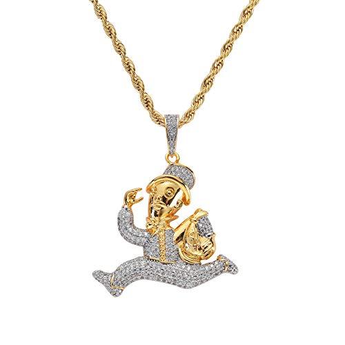 Hip Hop Gefror Heraus Goldfarbe Überzogen Lauf Clown Halskette Mikro Pflastern Zirkon Halskette Männer Frauen Fashion Jewelry,Gold