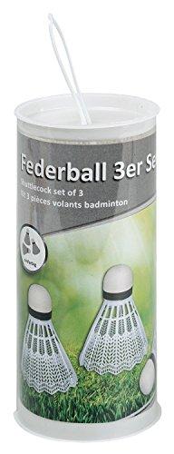 Idena 7418409 - Federball in weiß, 3er Set, aus Kunststoff, mit Schaumstoffspitze, in runder Transportdose, Ersatzzubehör für jedes Federballspiel