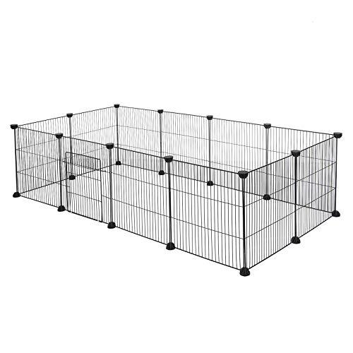EUGAD Freigehege für Kaninchen Hasen Meerschweinchen Welpenauslauf Kleintiergehege Laufgitter mit Tür DIY 12 Platten Schwarz 142 x 72 x 36 cm 0007WL