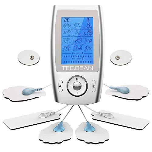 TEC.BEAN EMS TENS Reizstromgerät Digitaler Elektrostimulationsgerät TENS Massagegerät mit Voreingestellte Massagemodi, 2 Ausgangskanäle und 8 Elektrodenpads zur Schmerzlinderung und Rehabilitation