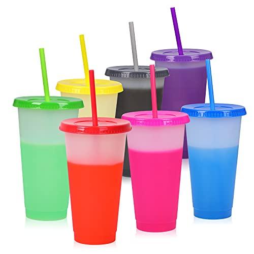 Farbwechsel Becher - 16oz Plastikbecher Trinkbecher mit Deckel & Strohhalm - 7 Stück BPA Frei Kaffeebecher to Go Reisebecher Tasse für Kinder Erwachsene Wiederverwendbar Kaltgetränkebecher