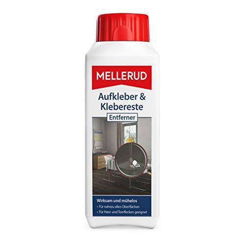 Mellerud Aufkleber & Klebereste Entferner – Wirkungsvolles Reinigungsmittel zum Entfernen von Aufklebern und Etiketten auf Allen unempfindlichen Oberflächen – 1 x 0,25 l