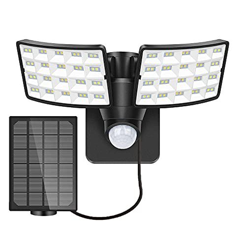 Solar-Sicherheitsleuchte für den Außenbereich,1600LM Solar LED Bewegungsmelder leuchte mit 2 verstellbaren Köpfen, 5500K,IP65 Wasserdichte Flutlichtleuchte Solarlampen für Außen, Garten, Hinterhof