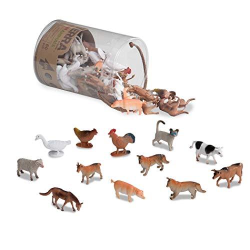 Terra 60-teilig Tierfiguren Sammlung Bauernhof Spielzeug Set – Kühe, Schweine, Hühner, Gänse, Ziegen, Katzen und mehr – Spielzeug ab 3 Jahren
