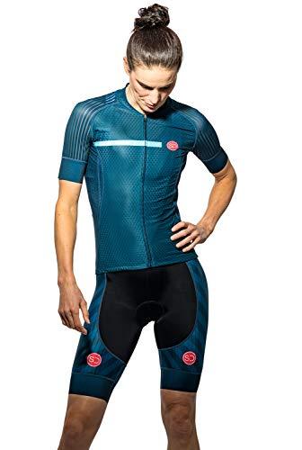 Sundried Womens Pro Bereich Radfahren Jersey Kurzarm Bike Jersey Straßen-Fahrrad-Zyklus-Abnutzungs-Mountainbike-Shirts (blau, M)