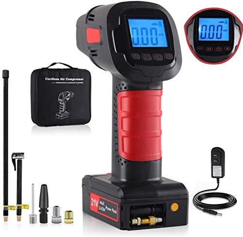 Luftkompressor, Akku Luftpumpe, Tragbare Auto-Luftpumpe, mit wiederaufladbarem Lithium-Akku, mit LED-Licht und LCD-Bildschirm, Aktuelle Reifendruckanzeige für Auto, Fahrrad, Motorrad