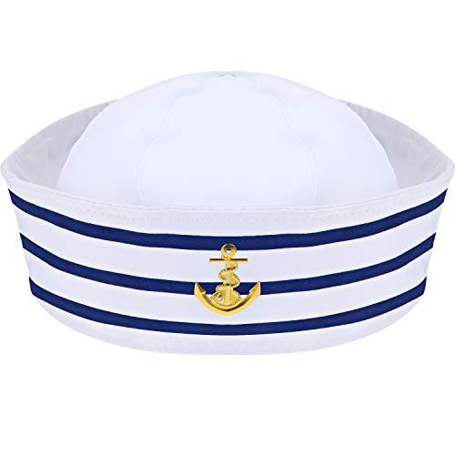 Syhood Kapitänsmütze Blau mit Weißen Segelhüten Matrosenmütze Marine Seemann Hut für Kostüm Zubehör, Anziehparty (1 Packung)