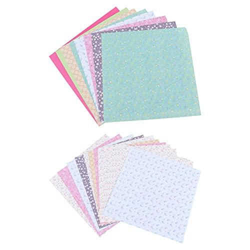 TOYANDONA 2 Packungen / 144 Blatt Origami-Papier Doppelseitiges quadratisches Faltpapier für Kunsthandwerksprojekte (Blumenmuster)