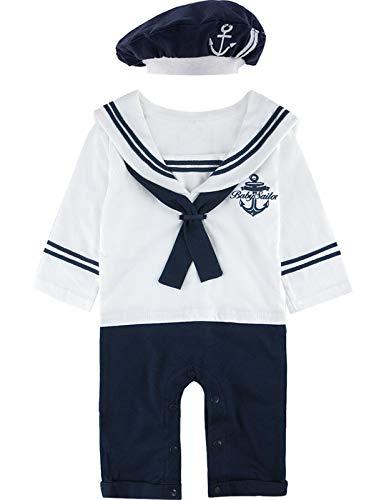 MOMBEBE COSLAND Baby Jungen Matrose Kostüm Strampler mit Hüte Langarm (0-3 Monate/70 UK, Weiß)