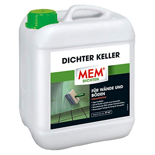 MEM Dichter Keller - 5 L - Imprägnierung gegen Feuchtigkeit in Schlaf- u. Wohnräumen - Wasserabweisend - Verhindert Schimmel-Neubildung - Atmungsaktiv - für Feuchte, Nasse Wände u. Böden - 30836413