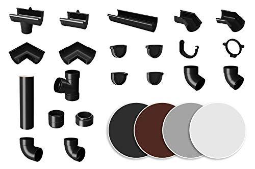 RAINWAY S Regenrinnen System (Dachrinne anthrazit) - PVC-U Kunststoff in 4 Farben, für Dachflächen < 100m² empfohlen, Regenrinne Gartenhaus Carport