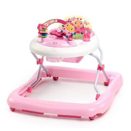 Bright Starts June Berry höhenverstellbare Lauflernhilfe mit abnehmbarem Spielzeug, Lichtern, Melodien, Lautstärkeregler, hoher Rückenlehne, Sicherheitsstopper