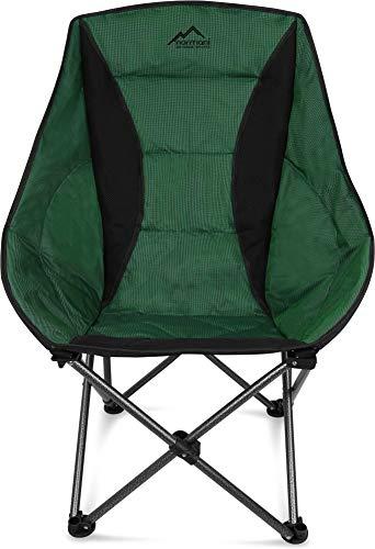 normani Deluxe Campingsessel Relaxsessel XXL Moonchair Schalensitz- Comfort Camping-Stuhl - Gepolsterter Outdoor Klappstuhl, Traglast: 150 Kg (330 lbs) Farbe Grün