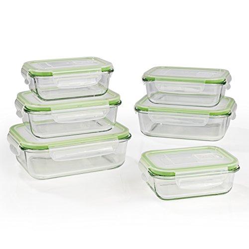 GOURMETmaxx Glas-Frischhaltedosen Klick-it 6 Dosen & 6 Luftdichte Deckel, Mikrowellen, Ofen und Gefrierschrank geeignet (-20 bis +330 °C) -Mikrowellenventil