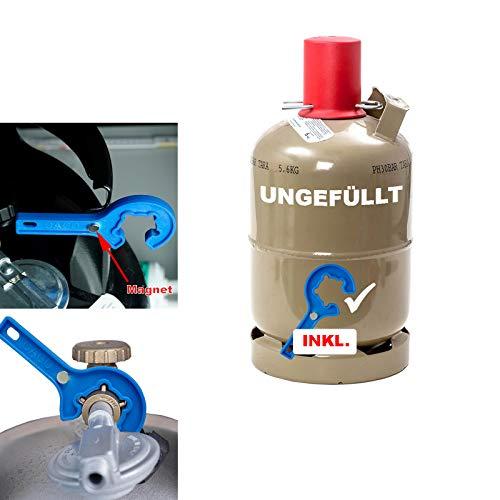 CAGO 5 kg Propan-Gas-Flasche Camping Grill Gasflasche Neu leer INKL Gasregler-Löser