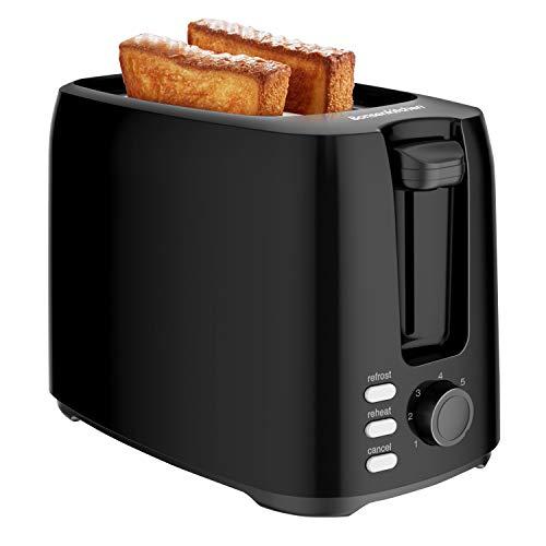 Bonsenkitchen 2 Scheiben Retro Toaster mit 7 Bräunungsstufen und Krümelschublade, 750W, Auto-Pop-Up Toaster mit Auftau und Aufwärm Funktion, Schwarz Klein Toaster TA8901