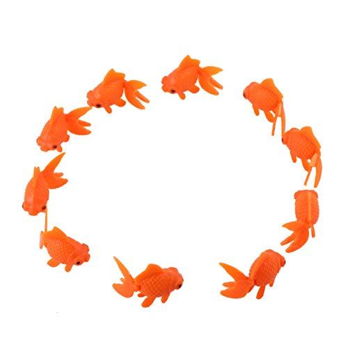 Balacoo 10 Stück Künstlicher Goldfisch Realistische Plastik Schwimmende Tropische Fischfigur Mini-Tierspielzeug für Aquarium Aquarium Dekor Ornament