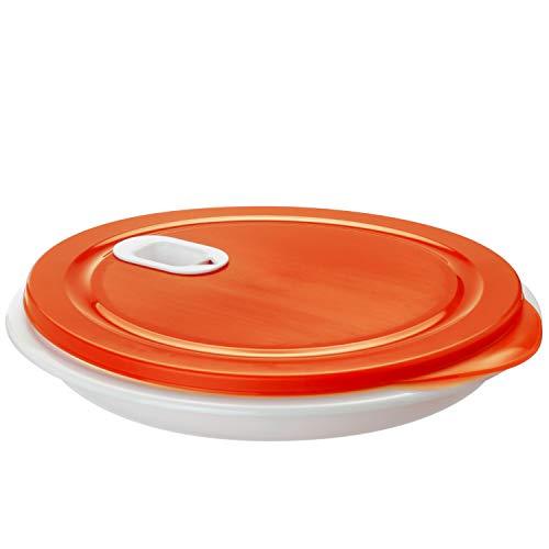 Rotho XL Clever Mikrowellenteller 1,2l mit Deckel und Unterteilung, Kunststoff (PP) BPA-frei, weiss/rot, 1,2l (26,0 x 26,0 x 4,8 cm)