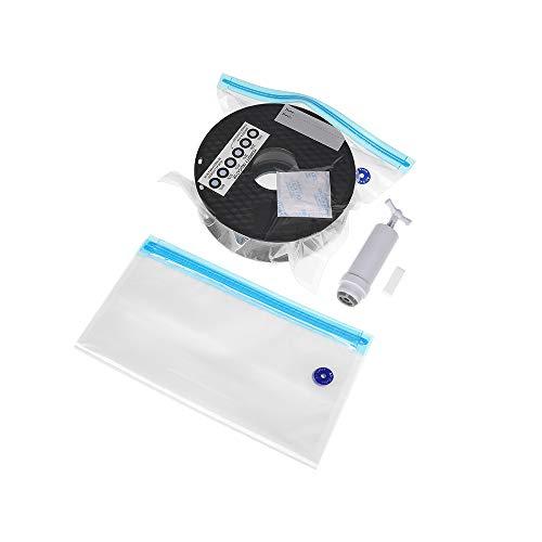 Sovol 3D Drucker Filament Aufbewahrungstasche Transparente Vakuum Taschen - 10 Beutel mit 10 Trockenmitteln, 10 Feuchtigkeitsanzeigekarten und 1 Handpumpe