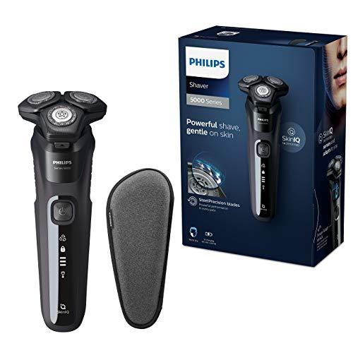 Philips Series 5000 Elektrischer Nass- und Trockenrasierer S5588/30, Leistungsstarke & sanfte Rasur, SteelPrecision-Schersystem, Power-Adapt-Sensor, flexible 360° Scherköpfe, 60 Min. Laufzeit