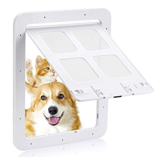 Smilelove Hundeklappe Katzenklappe fliegengittertür (Außengröße:30 x 35cm), 4-Wege-Verriegelung Haustierklappe Fliegengitter für kleine Hunde und Katzen mit einem Umfang (Groß Weiß)