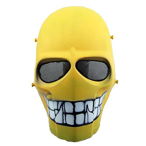 Worldshopping4U–Ganzgesichts-Schutzmaske für Airsoft, Paintball, Cosplay, Hockey, Halloween, als Kostüm, Schwarz/lächelnd/Kreuz/Totenkopf, Yellow Smile