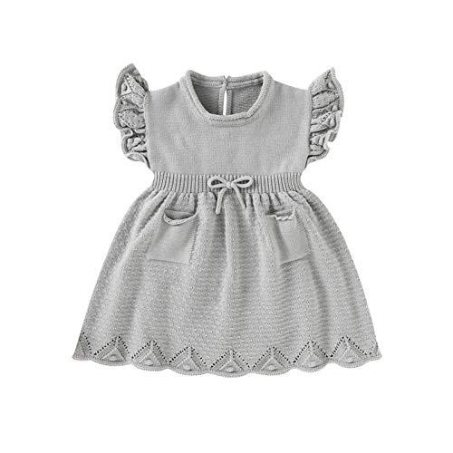 Borlai 6-30 Monate Neugeborenes Baby Mädchen Strickkleid Rüschen Ärmel Swing Kleid Süßes Sommerkleid Gr. 6-12 Monate, grau