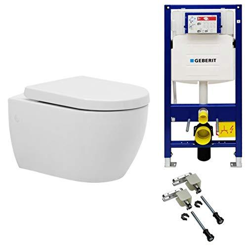 Spülrandloses Hänge WC mit Geberit Duofix UP320 Spülkasten inkl. Bausatz und Quick-Release WC Deckel (Spülrandloses WC + Geberitspülkasten & Bausatz)