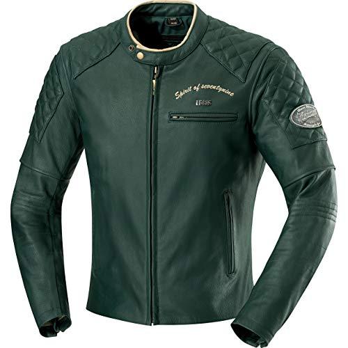 IXS Motorradjacke mit Protektoren Motorrad Jacke Eliott Herren Lederjacke grün 46, Chopper/Cruiser, Sommer