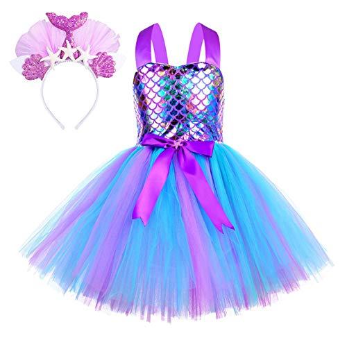 Meerjungfrau Kostüm Mädchen Arielle Kostüm Kinder Meerjungfrauen Kostüm Prinzessin Meerjungfrau Kleid Kostüm mit Haarreif für Karneval Geburtstagsfeier Cosplay Geburtstag Mädchen2 3 4 5 6 7 8 Jahre