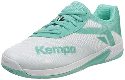 Kempa Unisex Wing 2.0 JUNIOR Handballschuhe, Mehrfarbig (Weiß/Türkis 05), 39 EU