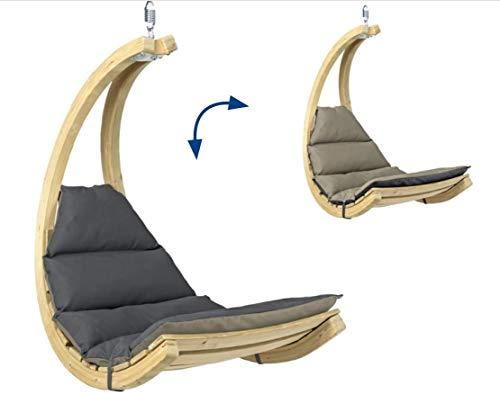AMAZONAS Swing Chair Anthracite stylischer Schwebesessel mit extra Dicker Matratze aus FSC Fichtenholz bis 120 kg