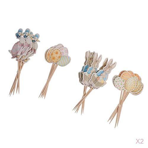 FLAMEER 48er-Set Papier Picks Topper Aufsatz Stecker Zahnstocher mit Ostern Stil für Kuchen Torten Cupcake Muffin und Obst