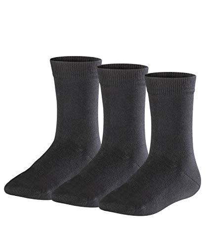 FALKE Kinder Socken Family 3-Pack - 94% Baumwolle, 3 Paar, Schwarz (Black 3000), Größe: 35-38
