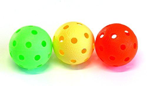 Realstick Floorball & Unihockey Ball 3er Set Color Mix | Wettkampfball + Trainingsball mit IFF Zertifikat für geprüfte Qualität