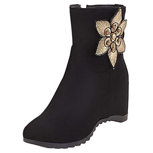 LIMITA Damenstiefel Winter Damen Flock Stiefel Einfarbig Keil Reißverschluss Flock Stiefel Blume Schneeschuhe Runde Zehenschuhe