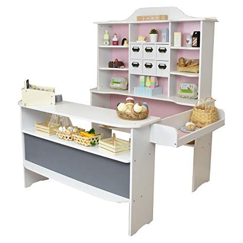 roba Kaufladen Macaron rosa-Weiss - Kaufmannsladen aus Holz